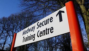 White sign saying, Medway Secure Training Centre