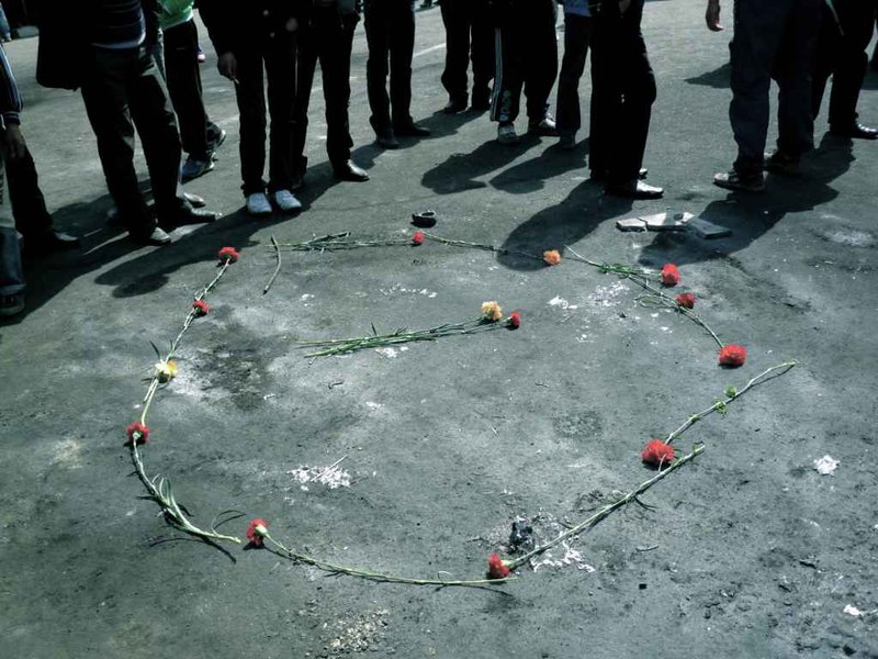 Makeshift memorials appeared outside the Bishkek White House, the site of the April 7th violence. Photo Madeleine Reeves