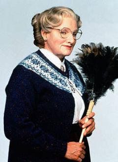 Image of older women with feather duster