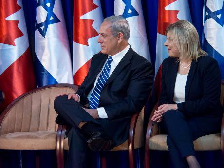 Netanyahus listening to Stephen Harper