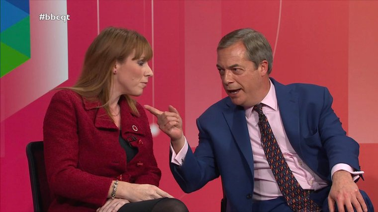 UKIP's Nigel Farage and Labour's Angela Rayner on a Question Time election special, December 2019