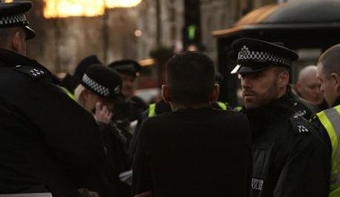 Metropolitan Police in London at work.