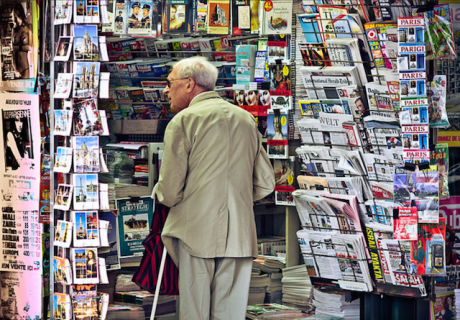 Old man at newsagents