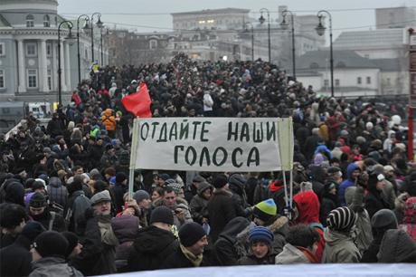 Thousands of protesters march through Moscow in 2012.