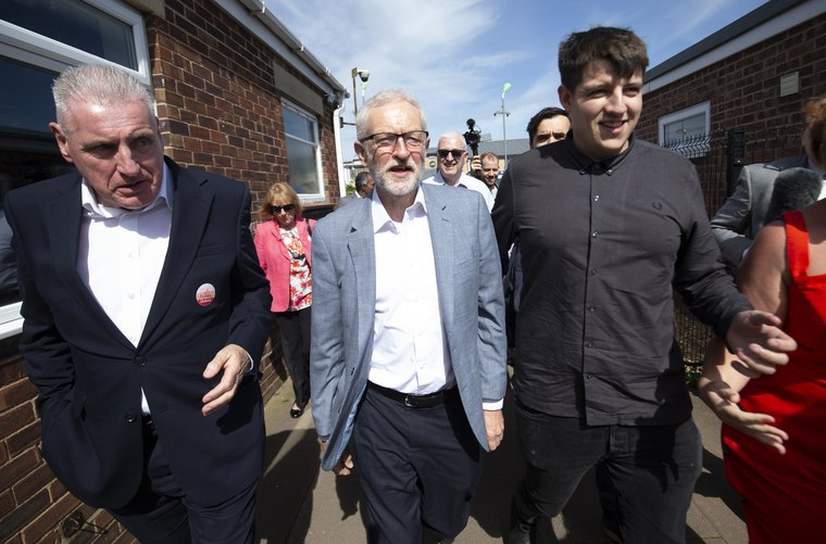 Jeremy Corbyn campaigning ahead of Thursday's Peterborough by-election