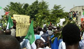 Protest in Abuja in 2012 against fuel-subsidy removal