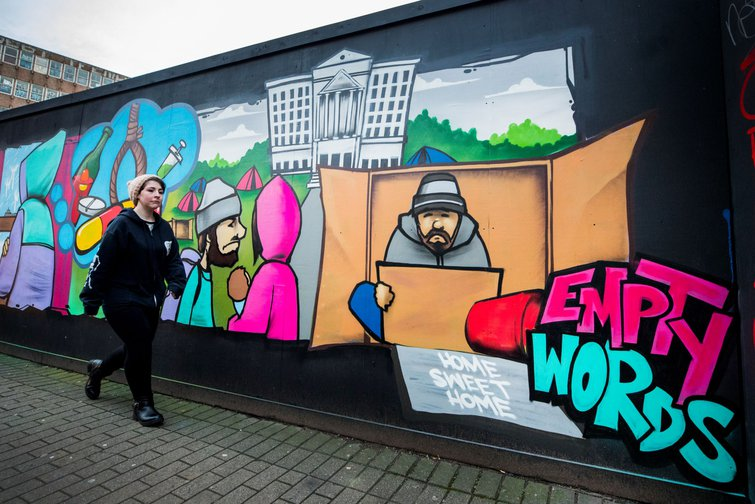 Belfast mural protesting lack of action from Stormont politicians on homelessness and poverty, December 2018