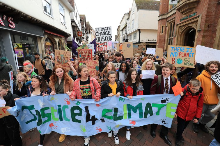 Students take part in a global school strike for climate change in Canterbury, Kent, March 15 2019