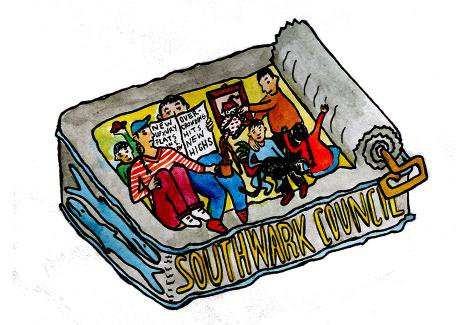 Illustration of group of people packed into a sardine can.