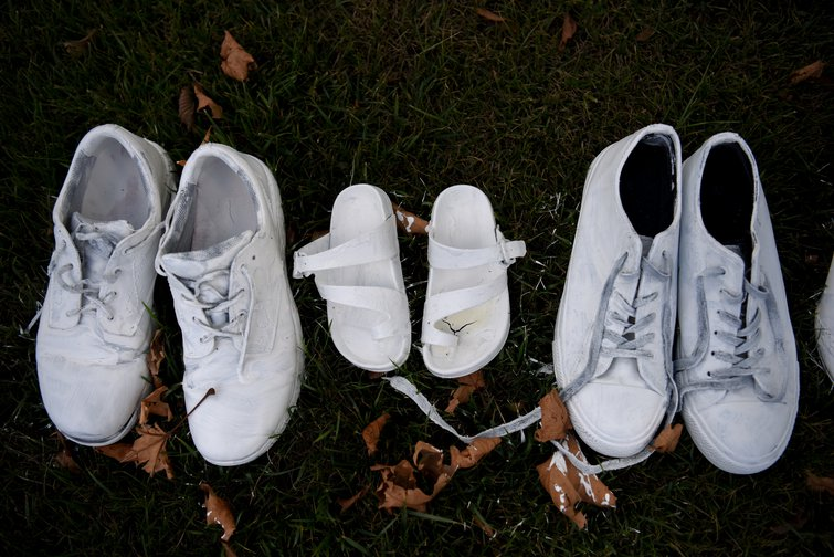 Shoes laid out in memory of the 50 who were killed in the attack on a mosque in Christchurch, New Zealand