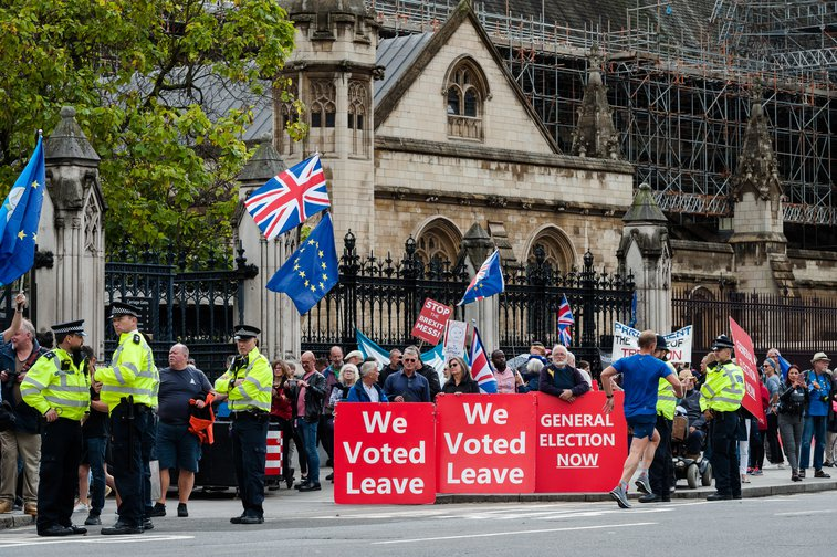 Pro and anti-Brexit protesters demonstrate outside the Houses of Parliament as MPs return last week