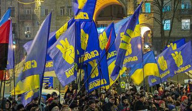 Svoboda supporters march in Kiev during the Maidan protests. Flickr/Slawekol. All rights reserved.