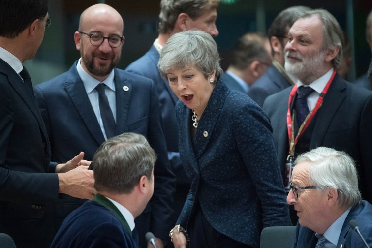 Theresa May with Jean-Claude Juncker and the Belgian and Dutch Prime Ministers ahead of the leaders summit, 21st March 2019