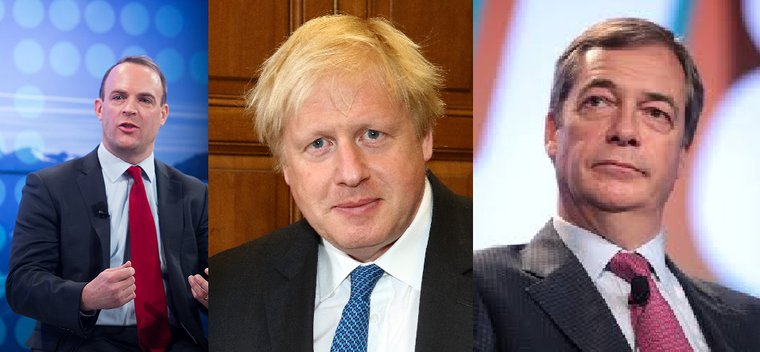 Dominic Raab and Boris Johnson, Tory leadership candidates, and Nigel Farage of the Brexit Party