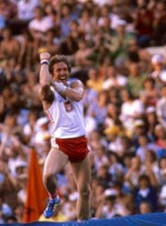 Polish pole vaulter Władysław Kozakiewicz, 1980 Summer Olympics. Wikimedia Commons. Some rights reserved.
