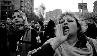 Women demonstrating against sexual violence in Cairo