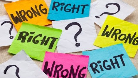 Post it notes saying 'right', 'wrong', and '?'