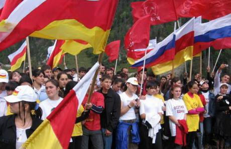 Flags of Russia and Ossetia flying together. In March 2014 a rally supporting Crimea's annexation was held in Vladikavkaz