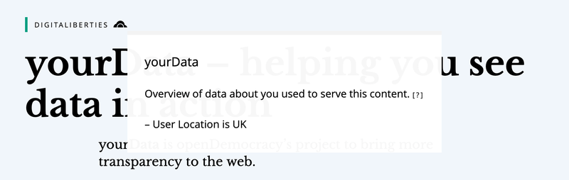 The yourData transparency feature on the openDemocracy website.